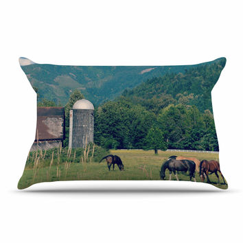 "Robin Dickinson ""Country Life"" Green Blue Pillow Case"