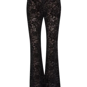 Black Floral Burnout Velvet Flared Bell Bottom Pants