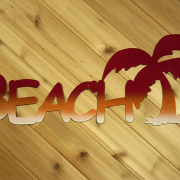 Metal Wall Art Metal Wall Words Large Beach with Palm Tree By PrecisionCut