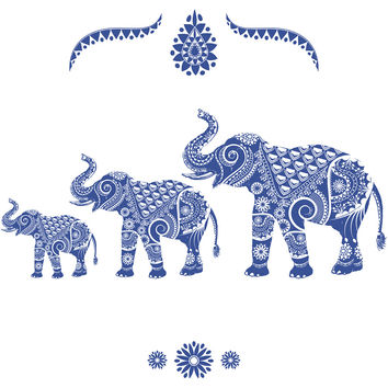Ornamental Elephants Blue Removable Wallpaper