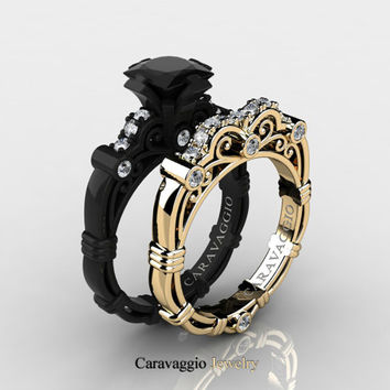 Caravaggio 14K Black and Yellow Gold 1.25 Ct Princess Black and White Diamond Engagement Ring Wedding Band Set R623PS3-14KBYGDBD