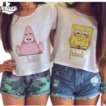 YEMUSEED Women Harajuku Best Friends Couple Crop Tops Cartoon Sexy Kwaii BFF irregular Tumblr Blusas Plus Size WCT33