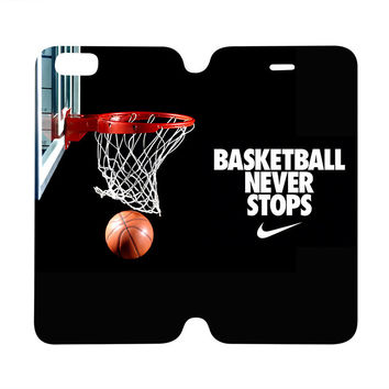 BASKETBALL NEVER STOPS Nike Wallet Flip Case for iPhone 4/4S 5/5S 5C 6 Plus Samsung Galaxy S4 S5 S6 Edge Note 3 4