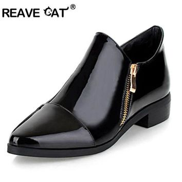 REAVE CAT Big size 33-43 Fashion Sexy Women shoes Patent leather Zip Pointed toe Flats