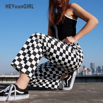 HEYounGIRL Plaid Pants Womens High Waist Checkered Straight Loose Sweat Pants Casual Fashion Trousers Pantalon Femme Sweatpants