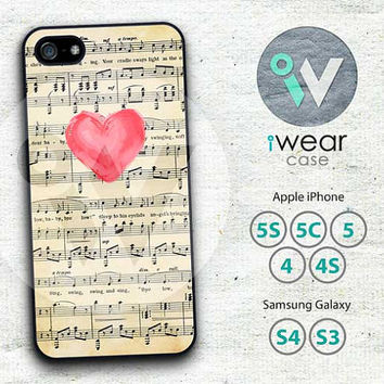 Love Heart On Music Sheet iPhone 4 Case, iPhone 4 4g 4s Hard & Rubber Case, Vingate Music Sheet cover skin case for iphone 4/4g/4s case