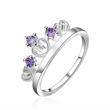 DCCKIX3 925 Sterling silver Plated fashion jewelry Crystal Crown couple ring Size7 8