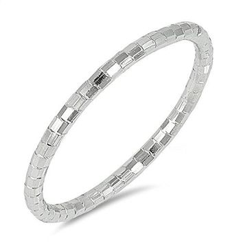 DiamondCut Thin Stackable Wedding Ring New 925 Sterling Silver Band Sizes 410