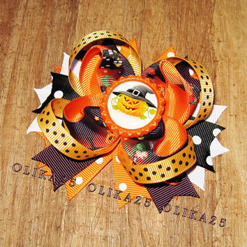 Halloween bow Boutique Hair Bow Halloween hair bows Halloween Clips Halloween Party Halloween Dress Girls Accessories Halloween clippie