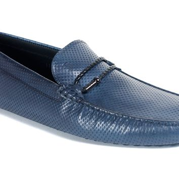 Tod's Men's Navy Leather Dotted Gommini Moccasins