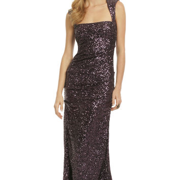 Nicole Miller Sequin Tyrian Purple Gown