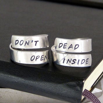 Don't Open Dead Inside - Zombies - Walking Dead Rings - Wrap Ring Set