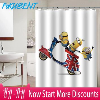 FOKUSENT Funny Minions and Cartoon Cute  Owl Polyester Fabric Waterproof Shower Curtains for Bathroom