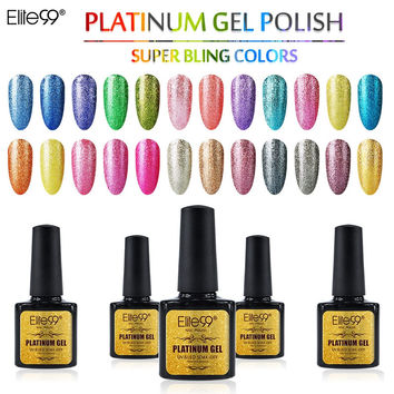 Elite99 Platinum Gel Polish UV/LED Lamp 10ml Gel Polish Bling Color Shimmer Coat Nail Polish Gorgeous Colored Gel Color Nail Gel