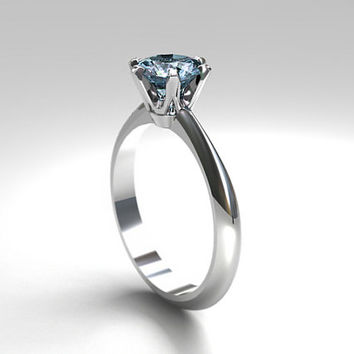 Aquamarine engagement ring, white gold, solitaire ring, white gold engagement ring, blue, aquamarine solitaire, thin, simple, unique, crown
