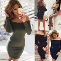 Fall Fashion Long Sleeve Sexy One Piece Dress [6446685764]