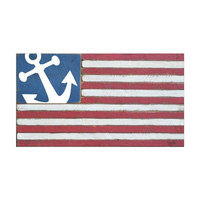 Handcrafted American Flag Wood Sign With Anchor 36-in