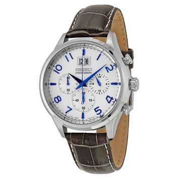 Seiko Chronograph White Dial Brown Leather Mens Watch SPC155