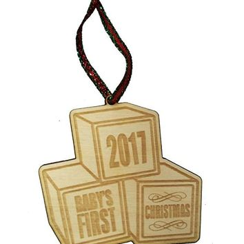 Baby's First Christmas 2017 Blocks Laser Engraved Wooden Christmas Tree Ornament Gift Seasonal Decoration