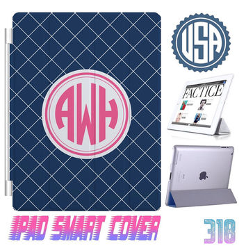 Navy Custom IPhone 5 Monogram @ IPad Air Smart Cover , IPad Mini Smart Cover IPad 4 Case , IPad 3 2 IPhone 5  4 4S Magnetic Sleep Wake #318