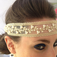 1920s Pearl and Lace Flapper Headband