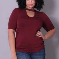 Plus Size Mock Neck Keyhole Cutout Top - Burgundy