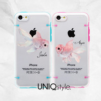 Couple Case for iPhone 5C iPhone 5 / 5S - personalized monogram name half-transparent cover case, lovely goldfish bumper pc tpu case, L55