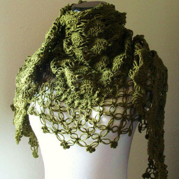 Olive Green Shawl   Neckwarmer  Cowl by MODAcrochet on Etsy