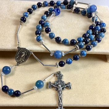 Rosary - Catholic Rosary Sterling Silver Blue Beads Vintage