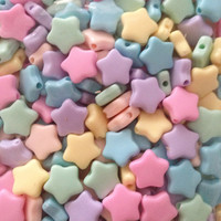 Kawaii Fairy Kei Pastel star beads 10mm 30 pcs pink yellow lilac peach mint and baby blue