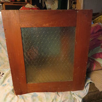 antique  Very Rare transparent   Glass honeycomb   Wire Ballot  and wood Box great for table