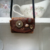 Free shipping Mid century leather sewing pouch necklace, leather necklace, button necklace