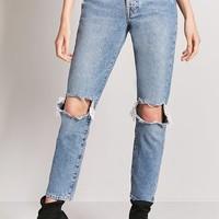 High-Rise Cutout Mom Jeans