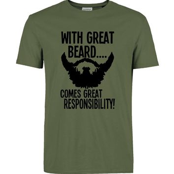 "Men's Fashion ""Beard Responsibility"" Graphic Printed Tee"