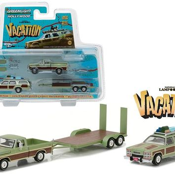 "1972 Ford F100 Pickup with 1979 Wagon Queen Family Truckster with Flatbed Trailer which has Working Ramps \National Lampoon\'s Vacation"" Movie (1983) Hollywood Hitch and Tow Series 4 1/64 Diecast Model by Greenlight"""
