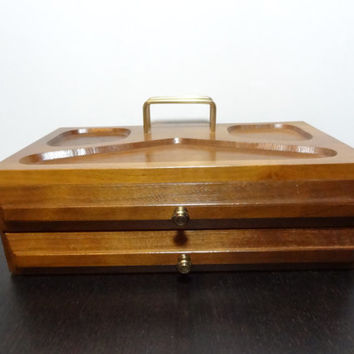 Vintage Wooden Dresser Valet/Jewelry Box with Red Velvet Lining - Mid Century Modern
