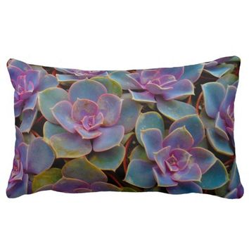 Purple Blue Green Succulent Cactus Plant Lumbar Pillow