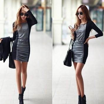 Streetstyle  Casual Grey-Black Patchwork Pleated Long Sleeve Square Neck Cotton Casual Mini Dress