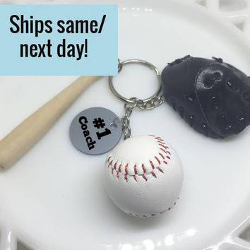 Baseball Coach, Coach Gift, #1 Coach, Coach Keychain, Baseball Keychain, Gift For Coach, Team Gift, Teammate Gift, Gift for Him,Husband Gift