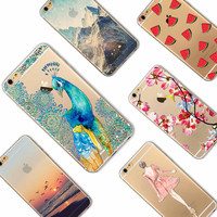 I6 6s Animals Painted Transparent Case For Iphone 6 6s Slim Back Protect Skin Rubber Phone Cover TPU Silicone Gel Case Accessory