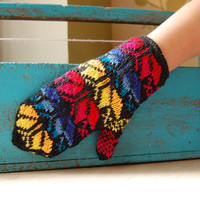 Hand knitted mittens, pure wool, shades of red, yellow and blue, winter accessories