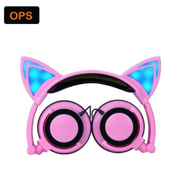 Foldable fashion Wired fone de ouvido Glowing Cat Ear headphones for PC Laptop /Computer/Mobile phone Auriculares plegables
