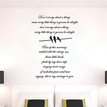 "BOB MARLEY wall stickers ''Three Little Birds"" Lyrics Vinyl Sticker Wall Art"
