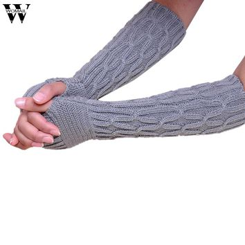 Amazing Winter Women Fingerless Knitted Long Gloves Female Fashion