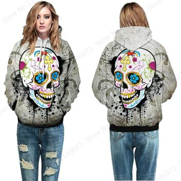 Colorful Suger Skull Hip Hop Hoodies Day of The Dead Skateboarding Sweatshirts Grey Jumper Pullover Men Autumn Hoody Jacket Coat