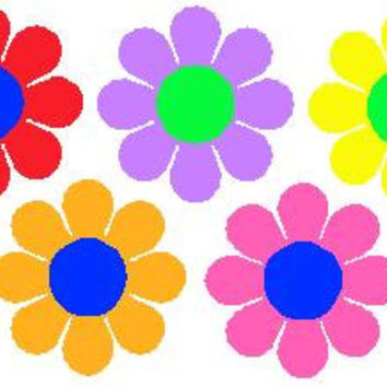 "One 12"" Large or One 6"" small Flower With Center  VW Flower Power Ricky Ticky Stickies Decals For Your Car, Large Flower"