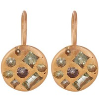 Gold Celeste Sapphire Crystal Disc Earrings