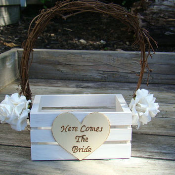 Rustic Flower Girl Basket - Wooden Flower Girl Basket - Here Comes The Bride - Outdoor Wedding - Barn Wedding - White Flower Girl Basket