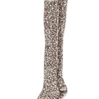 Varsity-Stripe Marled Over-the-Knee Socks