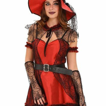 Vintage Patchwork Women Adult Clothes 6pcs Mischievous Witch Deluxe Halloween Costume Fancy Dress Masquerade Classical Lc89005